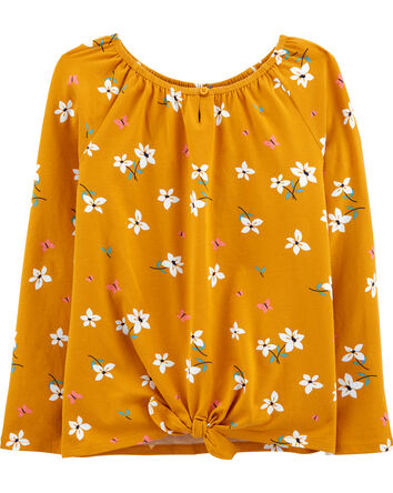 Floral Tie-Front Jersey Top