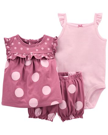 3-Piece Polka Dot Little Short Set