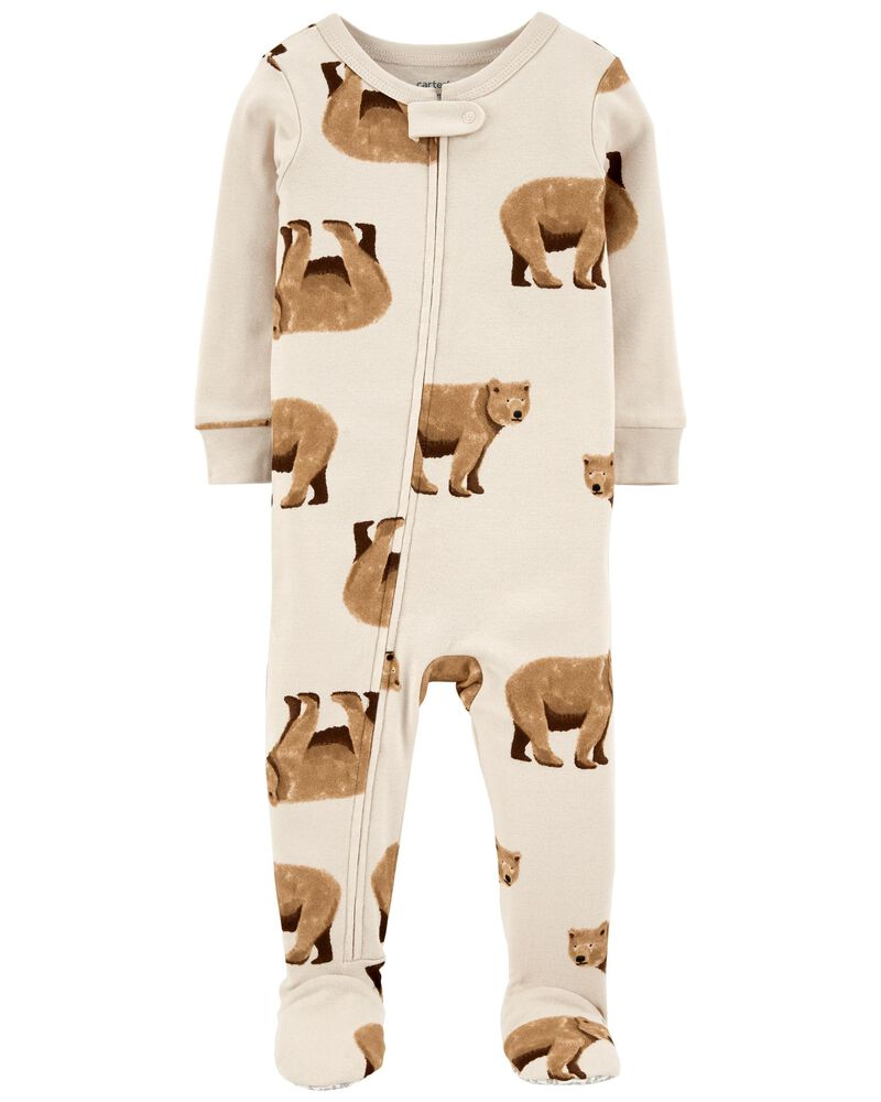1-Piece Bear 100% Snug Fit Cotton Footie PJs, , hi-res