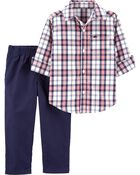 2-Piece Plaid Button-Front Top & Poplin Pant Set, , hi-res