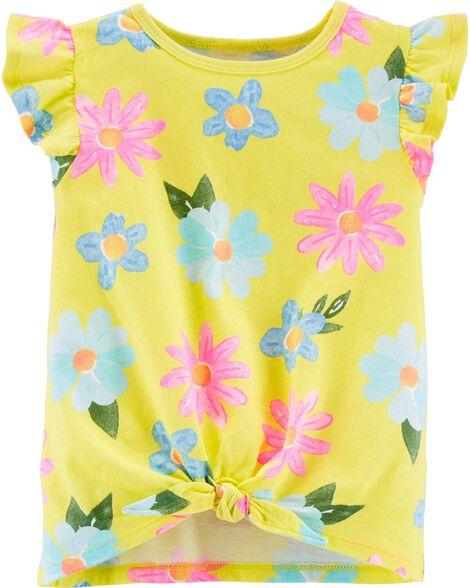 T-shirt en jersey fleuri et nœud devant