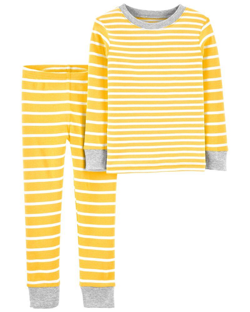 Pyjama 2 pièces en coton ajusté rayé, , hi-res