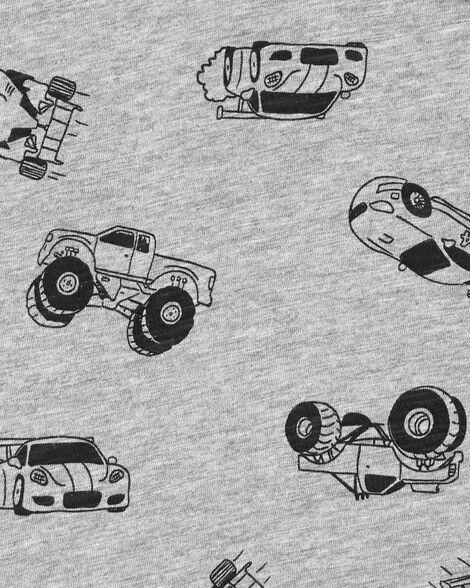 T-shirt à poche en jersey flammé avec voiture de course