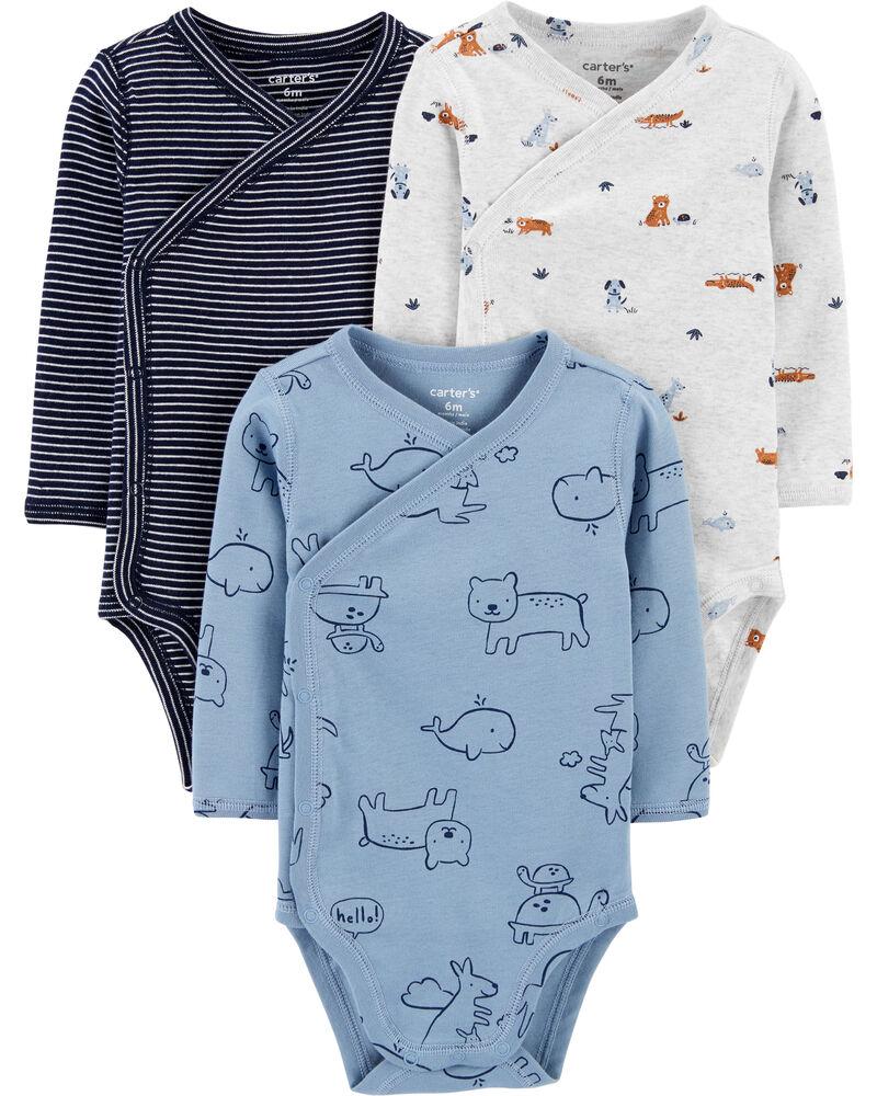 3-Pack Animal Side-Snap Bodysuits, , hi-res