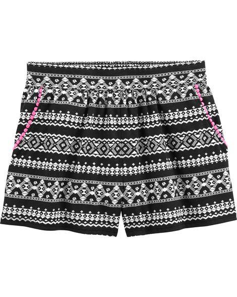 Geo Stripe Pom-Trim Shorts