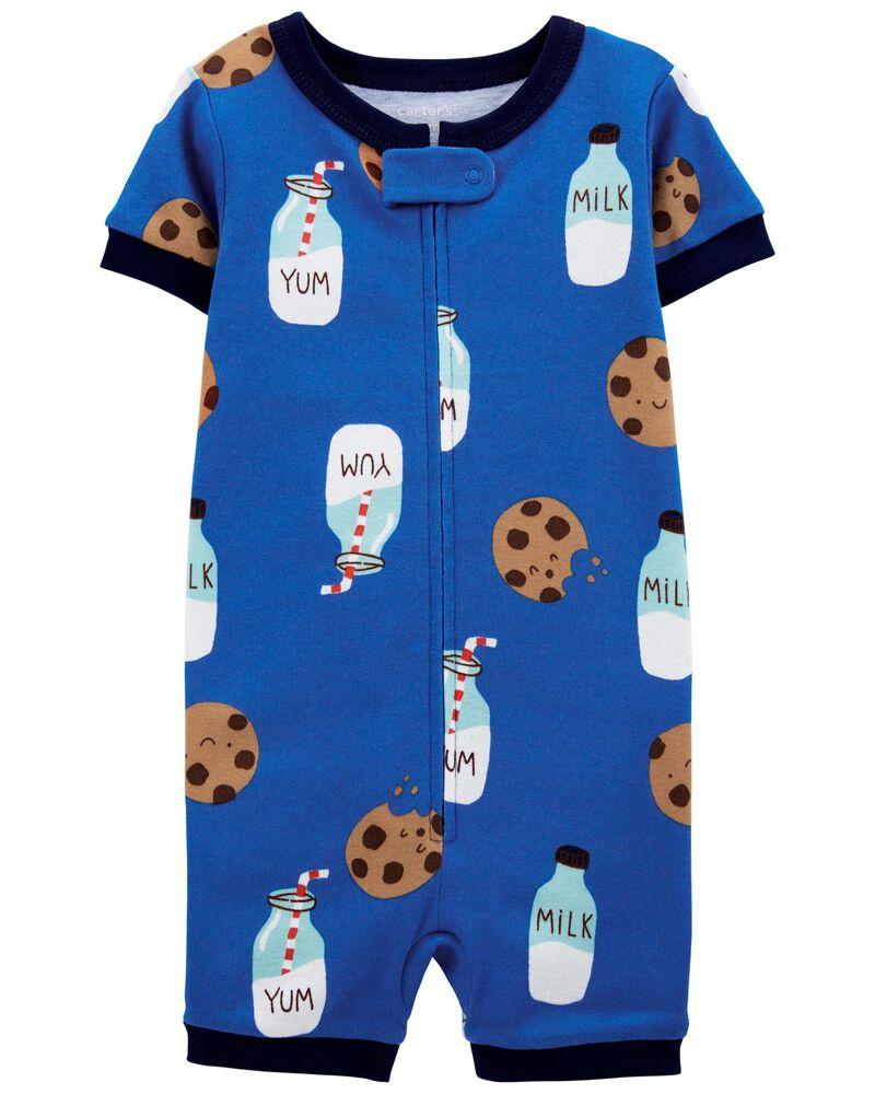 1-Piece Milk & Cookies 100% Snug Fit Cotton Romper PJs, , hi-res