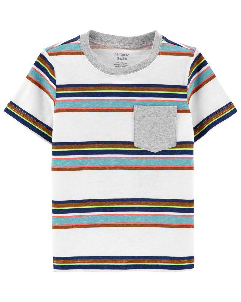 T-shirt rayé avec poche, , hi-res