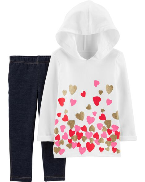 2-Piece Glitter Heart Hoodie & Knit Denim Pant Set