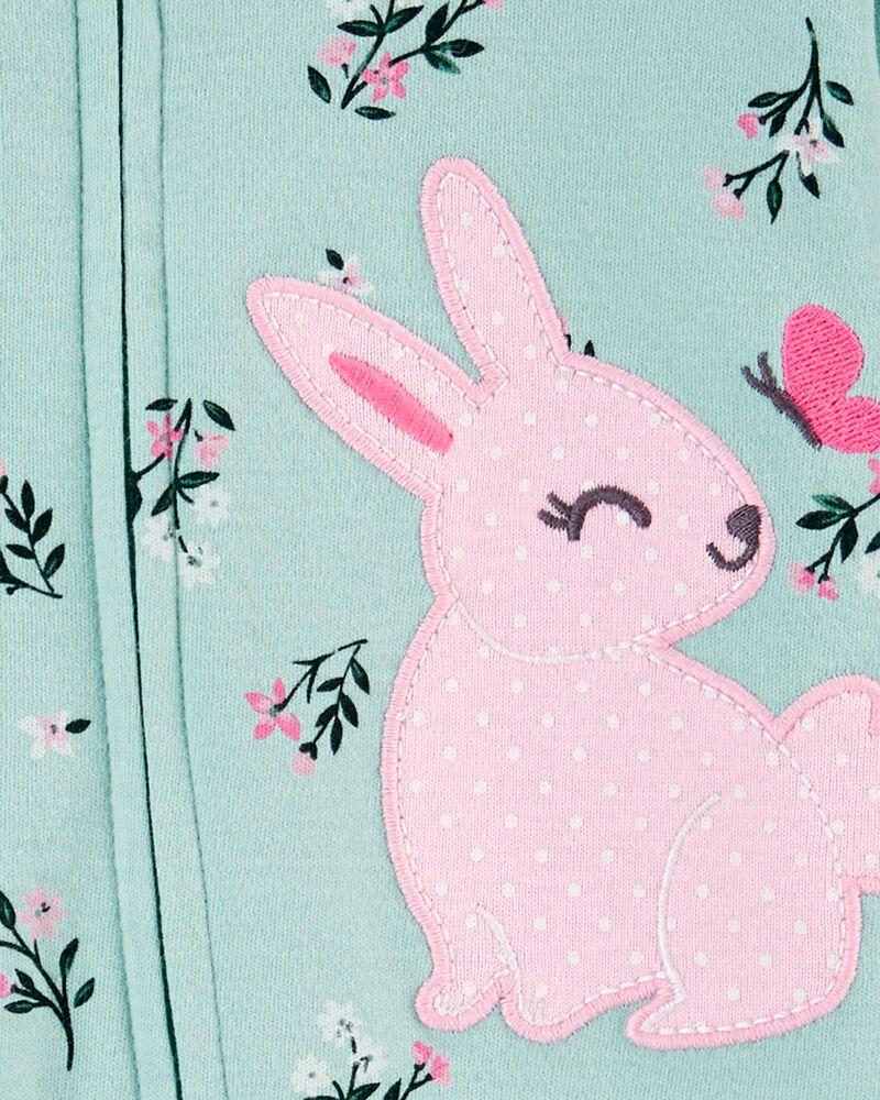 Grenouillère pour dormir et jouer avec glissière 2 sens et lapin, , hi-res