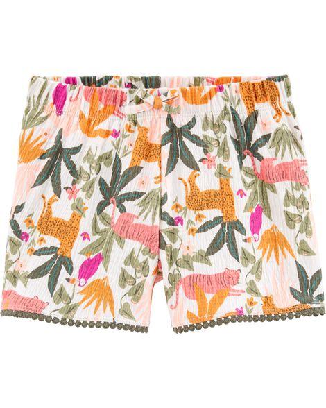 Short en jersey froissé à motif tropical