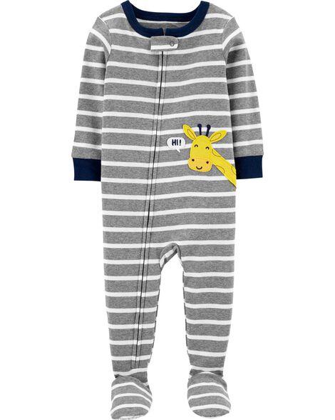 Pyjama 1 pièce avec pieds en coton ajusté motif de girafe