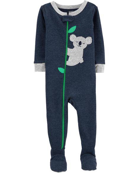 Pyjama 1 pièce avec pieds en coton et polyester ajusté à koala