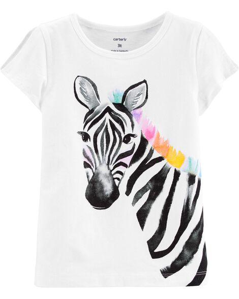 Zebra Split Shoulder Jersey Tee