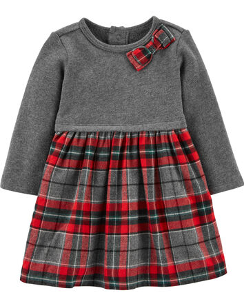 Holiday Plaid Bow Dress