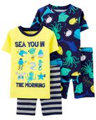 4-Piece Sea 100% Snug Fit Cotton PJs, , hi-res