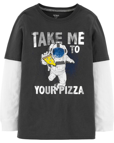 Pizza Astronaut Layered-Look Jersey Tee