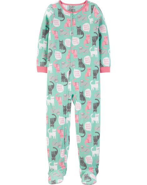 1-Piece Cat Fleece Footie PJs