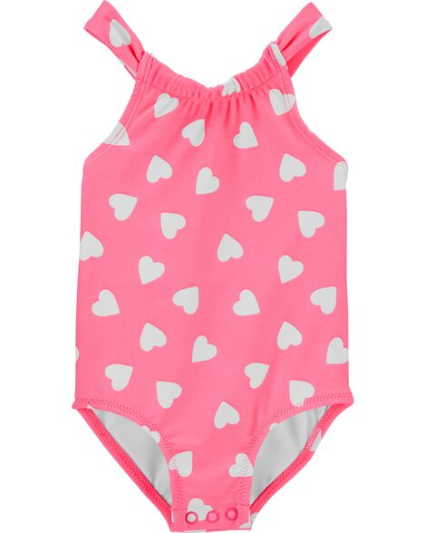 Neon Heart 1-Piece Swimsuit