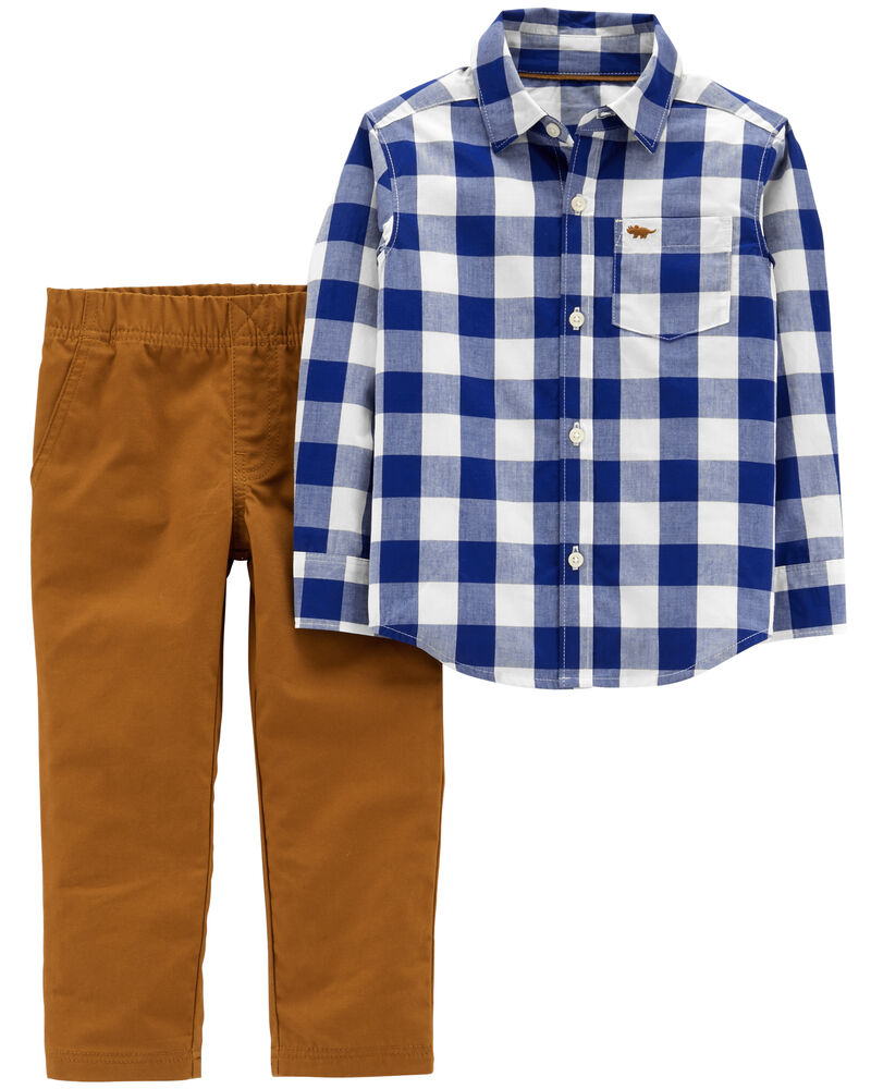 2-Piece Gingham Button-Front Top & Canvas Pant Set, , hi-res
