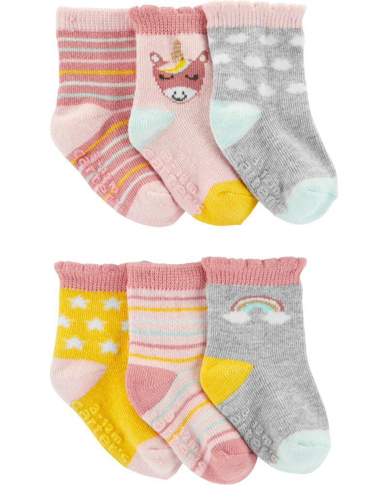 Emballages de 6 paires de chaussons à licorne, , hi-res