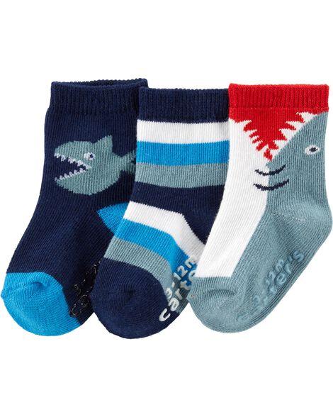 3 paires de chaussettes mi-mollet à requin