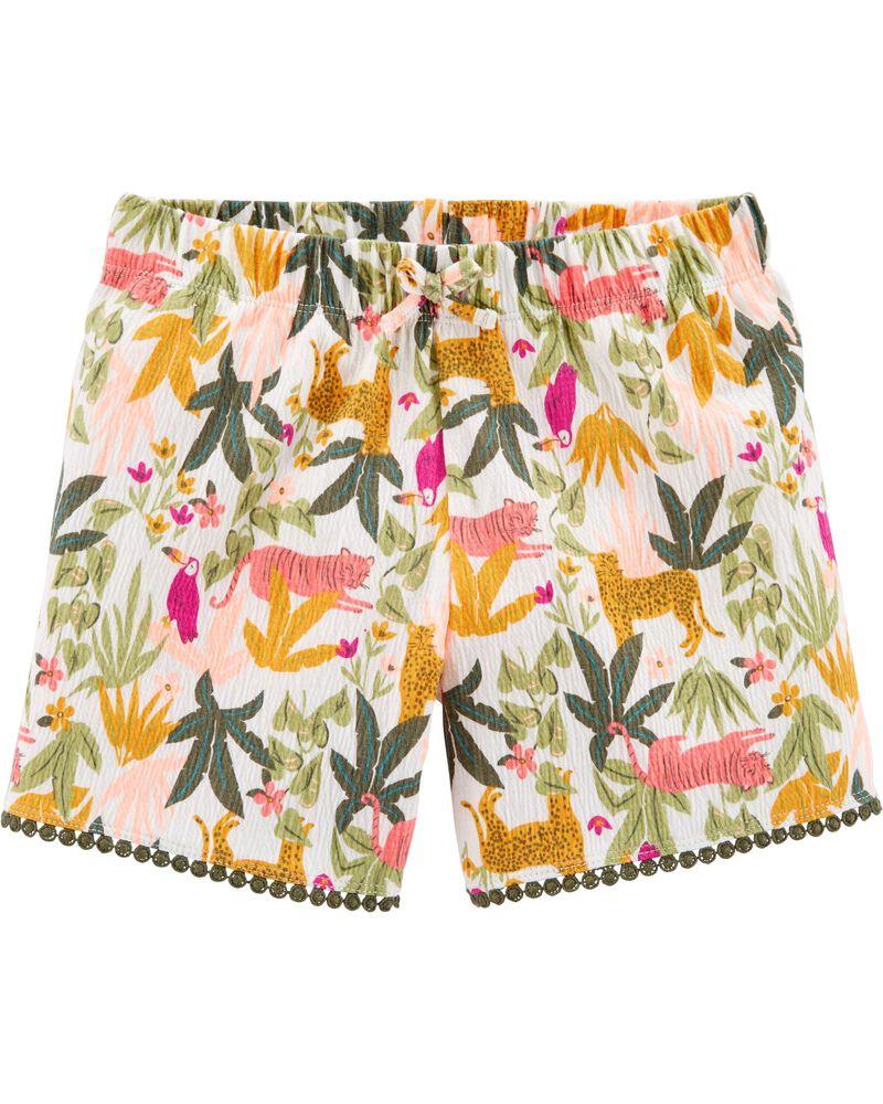 Short en jersey froissé à motif tropical, , hi-res