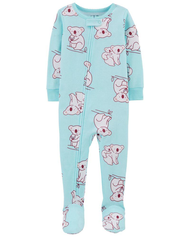 Pyjama 1 pièce avec pieds en coton ajusté à koala, , hi-res