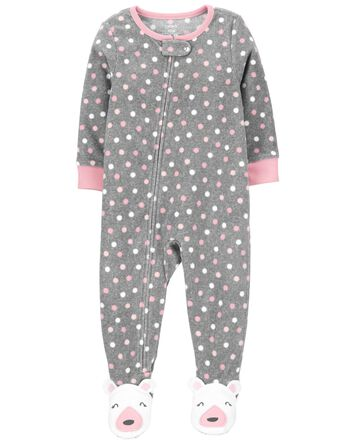 1-Piece Polka Dot Fleece Footie PJs