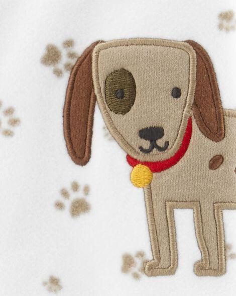 Grenouillère en molleton à boutons-pression chien