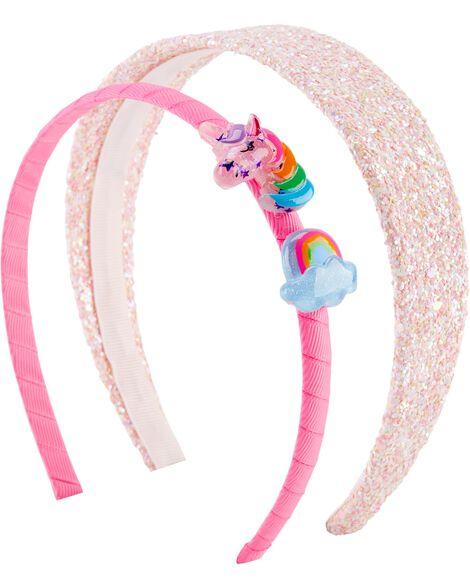 Emballage de 2 bandeaux à licorne arc-en-ciel