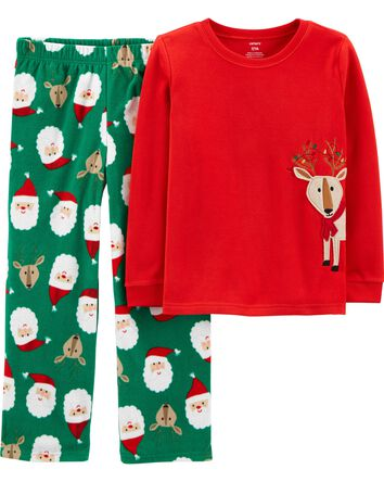 2-Piece Holiday Reindeer Fleece PJs