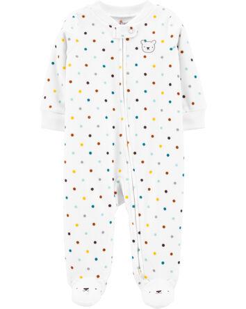 Polka Dot Zip-Up Fleece Sleep & Pla...