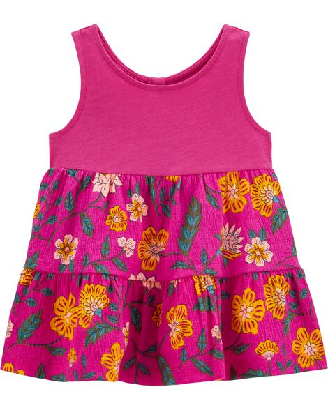 Floral Tiered Crinkle Jersey Tank
