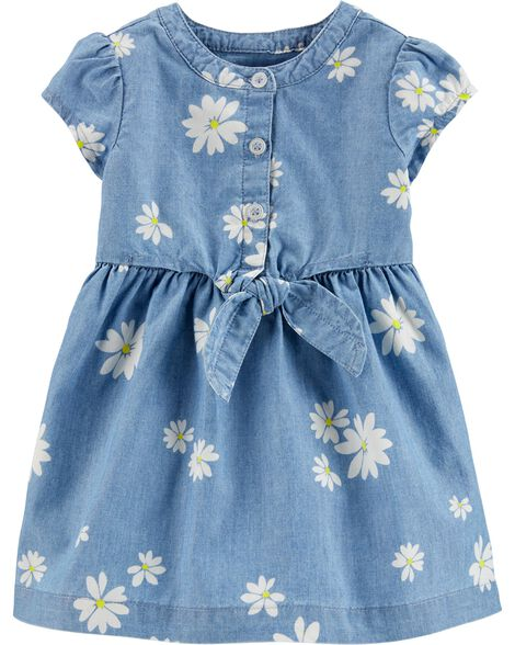 Daisy Bow Chambray Dress