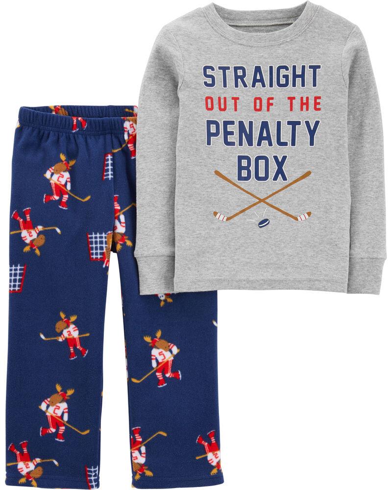 Pyjama 2 pièces en coton et en molleton hockey, , hi-res