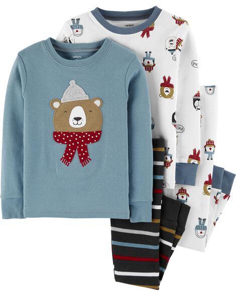 4-Piece Winter Bear Snug Fit Cotton PJs