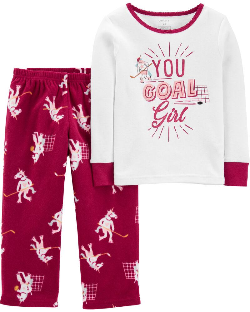 Pyjama 2 pièces en coton et molleton licorne, , hi-res