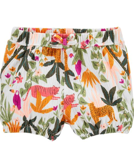 Tropical Crinkle Jersey Bubble Shorts