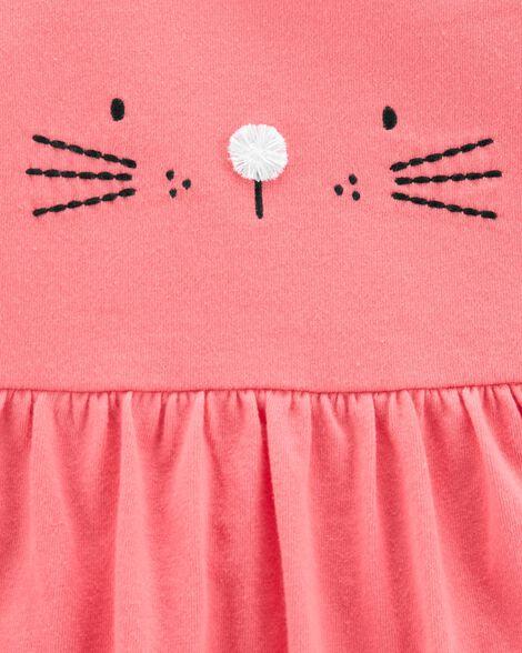Ensemble 2 pièces robe cache-couche à chat et cardigan