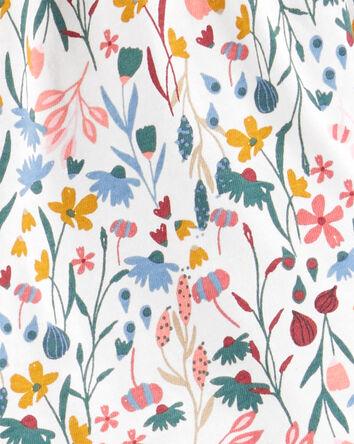 2-Piece Floral Top & Knit Denim Leg...