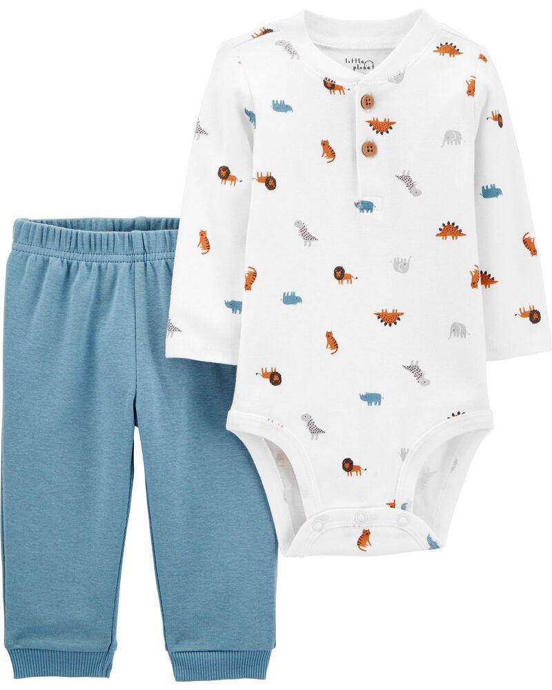 Ensemble 2 pièces cache-couches en coton certifié biologique et pantalon, , hi-res