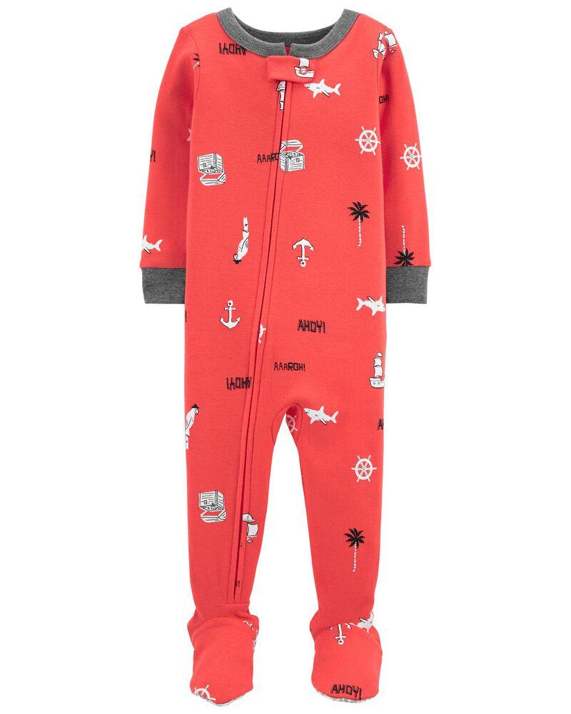 1-Piece Nautical 100% Snug Fit Cotton Footie PJs, , hi-res