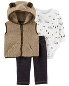 3-Piece Sherpa Little Vest Set, , hi-res