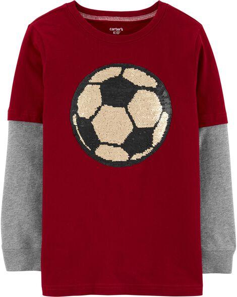 Soccer Flip Sequin Layered-Look Tee