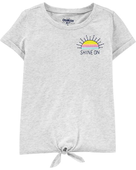 T-shirt à nœud devant et motif soleil