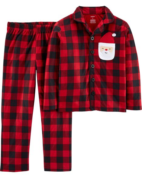2-Piece Buffalo Check Coat Style Fleece PJs