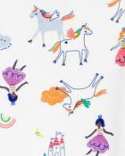 Pyjama 4 pièces en coton ajusté à licornes, , hi-res