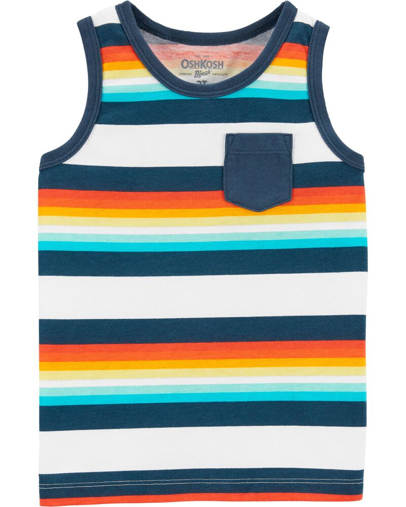 Multi Stripe Pocket Tank, , hi-res