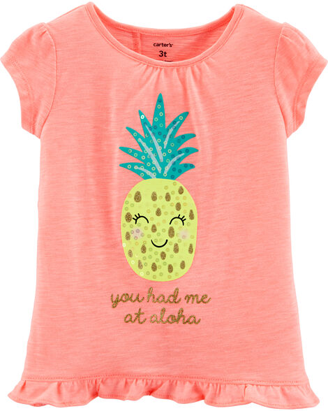 Sequin Pineapple Tulip Back Slub Tee