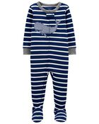 1-Piece Whale 100% Snug Fit Cotton Footie PJs, , hi-res